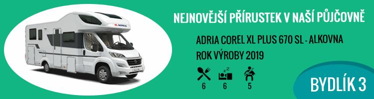 Nový obytný vůz 2019 Adria Corel XL Plus 670 SL alkovna